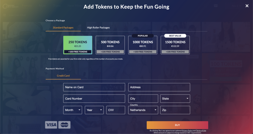Cams.com Token Packages