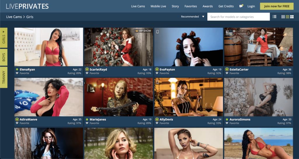 LivePrivates Homepage