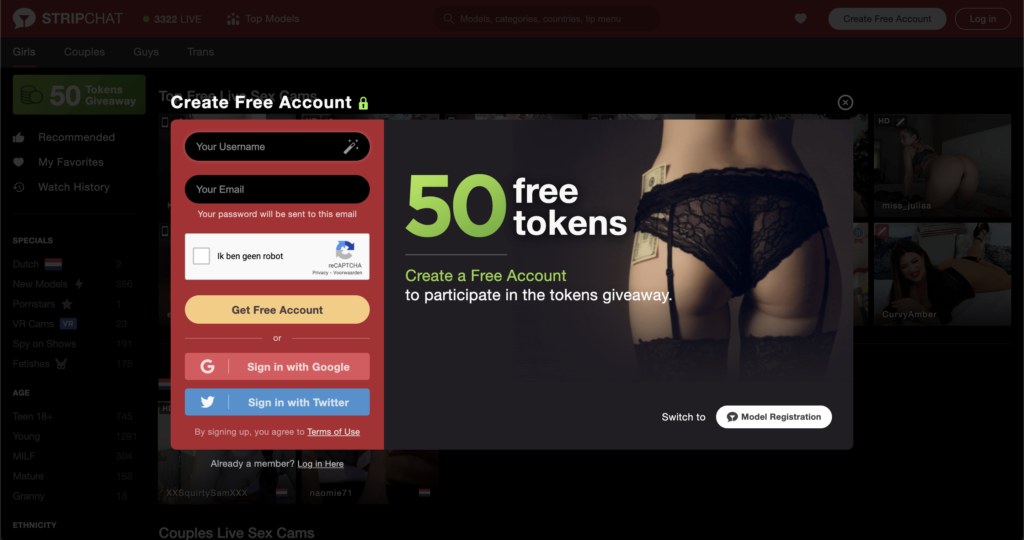Stripchat Signup and 50 Free Tokens